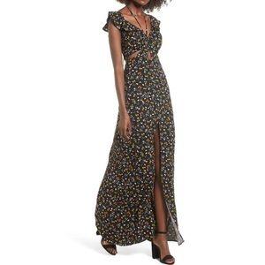 AFRM Boho Floral Cutout Maxi Dress New